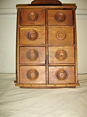 """Antique Oak 8-drawer Spice Cabinet Stenciling on top """"Spice Cabinet""""     9903"""