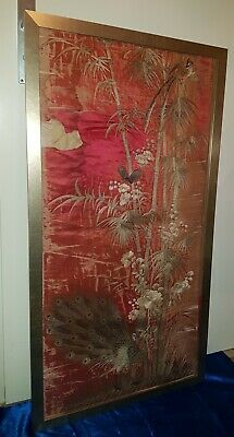 Alte Japanische Seiden-Stickerei Old Japanese Hand Embroidery Peacock