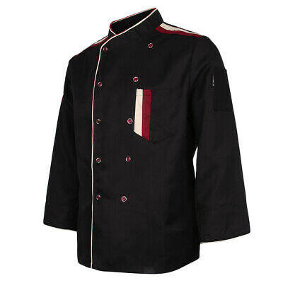 Restaurant Unisex Chef Long Sleeve Coat Jacket Uniform Cook Waiter Black XXL