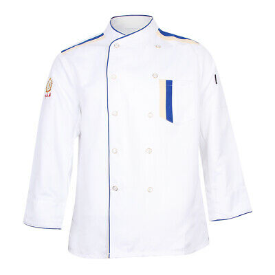 Restaurant Unisex Chef Long Sleeve Coat Jacket Uniform Cook Waiter White XXL