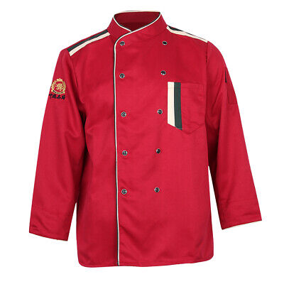 Restaurant Unisex Chef Long Sleeve Coat Jacket Uniform Cook Waiter Red XL