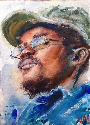 Aceo Original Watercolor  Painting Portrait  Fine Art Card  /The Drummer