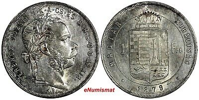 HUNGARY Franz Joseph I Silver 1879 KB 1 Forint UNC Light Toned KM# 453.1