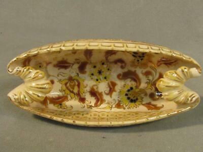 Antique Zsolnay Pecs Ftm Hungary Boat Shaped Small Reticulated Bowl