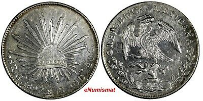 MEXICO Silver 1897 GO RS 8 Reales Guanajuato Mint Radiant cap with Rays KM#377.8