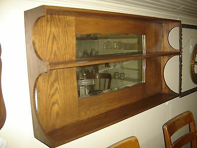 Antique Oak Wall Shelf  with Rectangular Beveled Mirror in shaped frame.7750