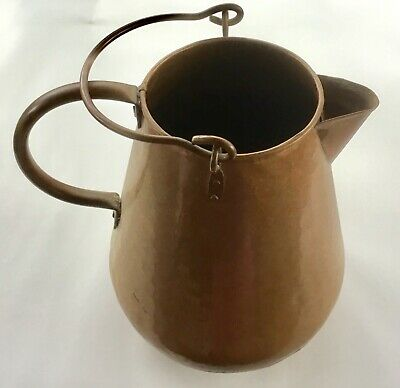 Antique Vintage Hammered Copper Water Pitcher w. 2 Handles