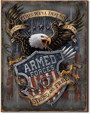 Armed Forces since 1775 Vintage Retro Tin Metal Sign 13 x 16in