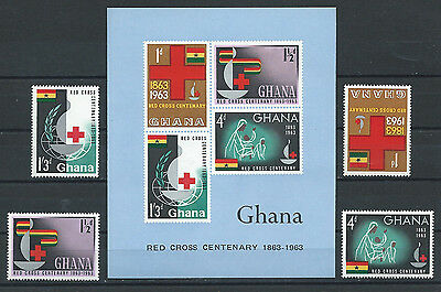 Ghana , Red Cross , Ss Imp & Set Of 4 Stamps Perf , Mnh