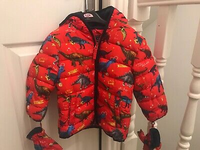 New Boys Warm Padded Dinosaur Jacket Coat With Mittens Age 1 -1/2 12-18 Months