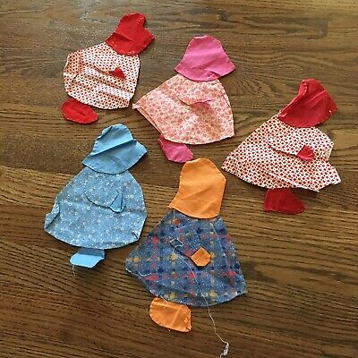 Lot of 5 Sunbonnet Sue Vintage Quilt Blocks Hand Stitched Flour Feed Sack Fabric
