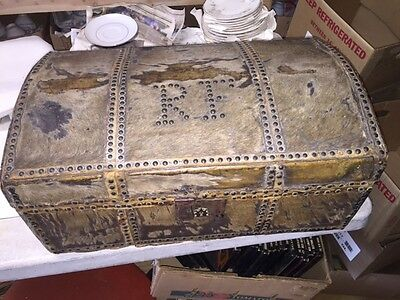 1800-1899 Antiques 1812 Signed Maker Hide Covered Document Box Trunk James Kimball Portland Maine