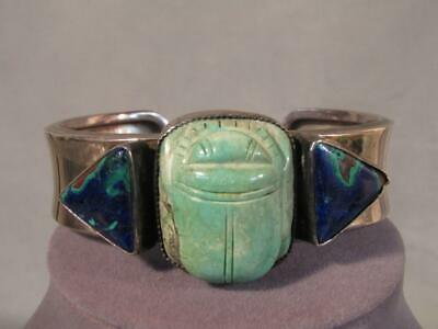 Vintage Sterling Silver Cuff Bracelet With Scarab & Gemstones Signed Rkr
