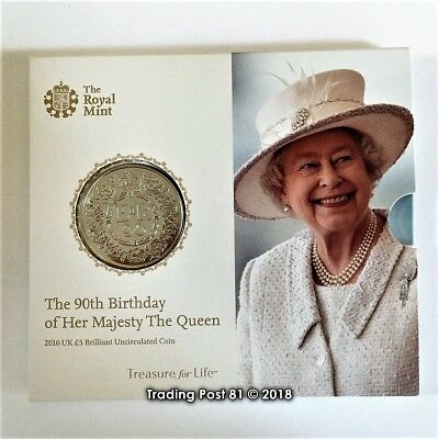 SALE: GREAT BRITAIN 2016 - 5 Pounds - QE II 90th Birthday - BRAND NEW, SEALED