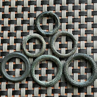 "Lot Of 6 Ancient Celtic Bronze Proto Rings ""money"" Circa 500 Bc Very Rare"