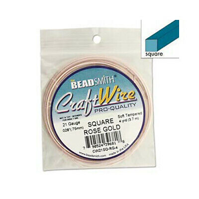 Square Wire 21Ga Rose Gold Copper Wire 4yd 43446 Beadsmith Jewelry or Craft Wire