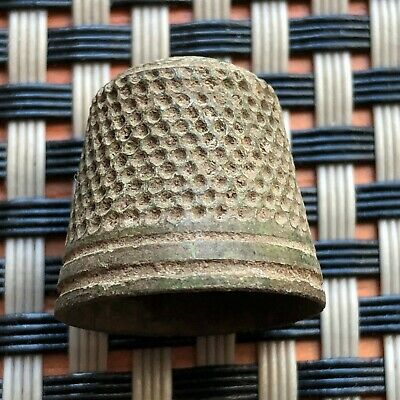 Ancient Byzantine Medieval Bronze Thimble Very Rare