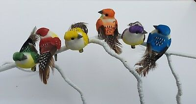 6 Colourful Artificial Fake Feather Craft Clip Birds Hair Flower Cake Decoration
