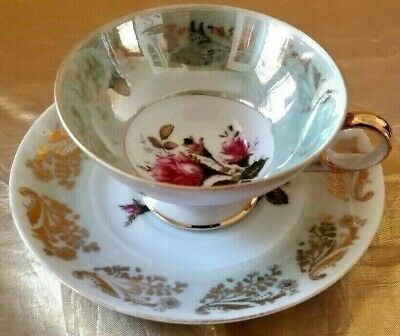 Antique Royal Sealy Lusterware Cup & Saucer Rose Center Gold Leafy Design
