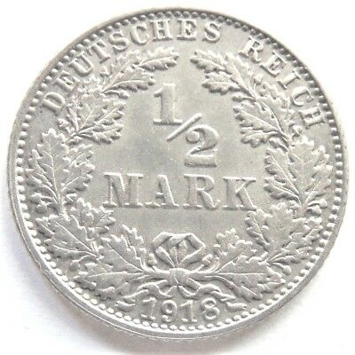 1918E GERMANY EMPIRE, 1/2 MARK, grading About UNCIRCULATED.