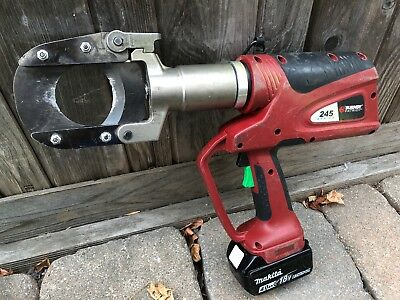 Burndy Patriot 245 Series 6-Ton Battery Hydraulic Cable Cutter Copper Aluminum
