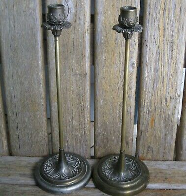 "TWO 14"" Antique Art Nouveau/Deco Metal Candle Holders Shabby Vintage French Chic"