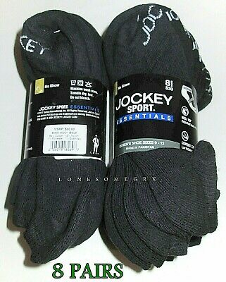 8 Pairs Mens Jockey Sport Essentials No Show Cushioned Cotton Arch Support Socks