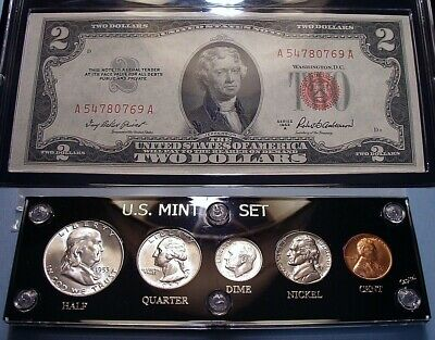 1953-D Mint U.s. Silver Coin & Currency Set Collection Brilliant Unique & Flashy