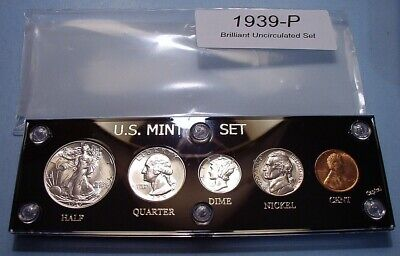 1939 MINT SILVER SET of U.S. COINS CHOICE BRILLIANT UNCIRCULATED NICE, SCARCE!