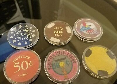 Lot Of 6 Various Casino Chips Encapsulated Lot 2