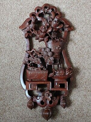 龙眼木雕壁挂 罗汉松牡丹Chinese Antique Carved pine tree sculpture Artwork decor vintage