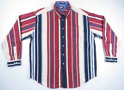 73ece414d7 Vintage 90S Tommy Hilfiger Multicolor Wide Striped Long Sleeve Shirt Xxl  Polo