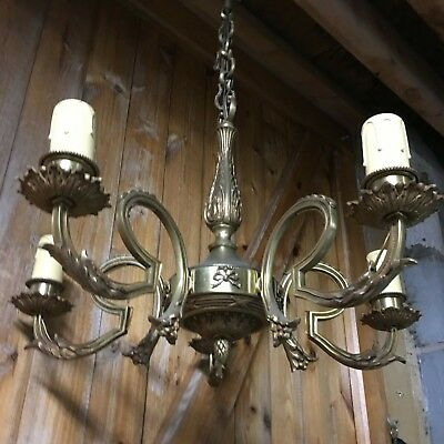 Antique French Brass Chandelier 5 Arm Rococo Ornate Brass Electric Chandelier