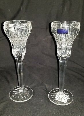 """NEW Marquis by waterford Canterbury 8.5"""" Candlestick Pair Lead Crystal retired"""
