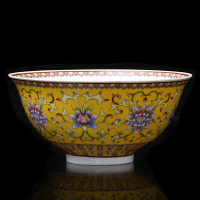 Chinese Old Porcelain Hand-painted peony flower Bowl w Qing QianLong Mark  NR