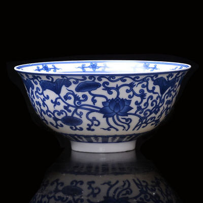 Chinese Porcelain Bowl Of Hand-painted Lotus W Qing QianLong Mark NT01