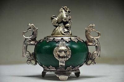 Armor Inlaid Jade Hand-Carved with stone lion Tibet Silver Dragon Incense Burner