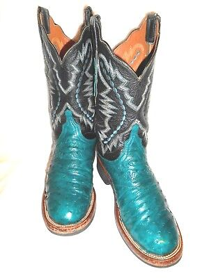 a4e5b32e1a8 7.5 C LUCCHESE 2000 Custom Teal & Black Full Quill Ostrich Crepe Sole Boots