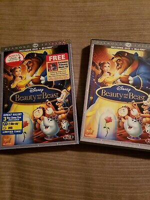 Disney's Beauty and the Beast Blu-ray/DVD 2010 3-Disc Set Diamond Edition Excell