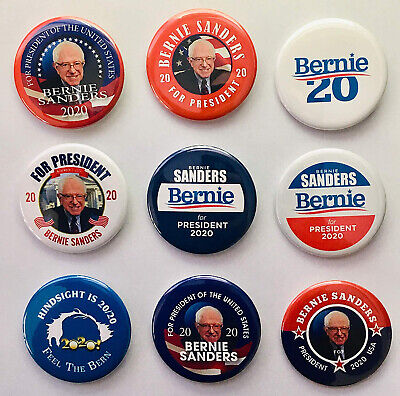 Bernie Sanders For President 2020 Campaign Buttons Feel The Bern! Set Of 9