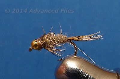 1 DOZEN GOLD BEAD HEAD ORANGE AND HARE´S EAR NYMPHS FOR FLY FISHING BH-22