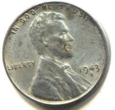 Wartime 1943 S Lincoln Steel Wheat Penny - American One Cent Coin -San Francisco