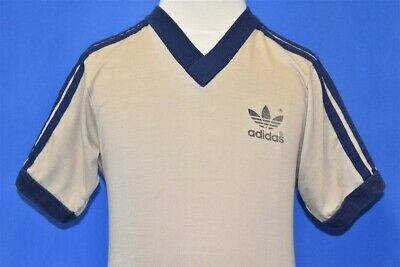 vintage 80s ADIDAS TREFOIL STRIPED BEIGE RINGER V-NECK t-shirt YOUTH SMALL YS