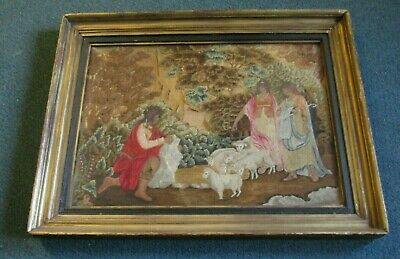 French Silk Petit Point Embroidery, A Rare Antique Item Circa Lt.1700'S Framed