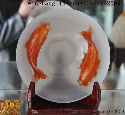 old China natural red & White agate carving Feng Shui fish goldfish Tea cup Bowl