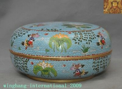 China bronze Cloisonne enamel Gilt lotus mandarin duck statue jewelry Box Boxes