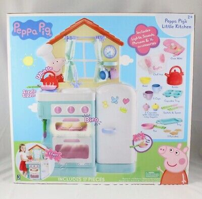 Peppa Pig Little Kitchen With 17 Pieces Lights Sounds Brand New Sealed Big