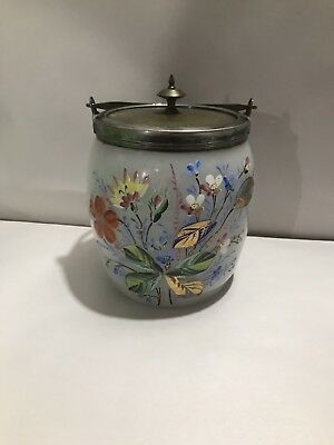 Antique Victorian Silver Plated Handle & Top Clay Broth Glass Biscuit Jar HP
