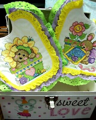 "Bibs Handcrafted XStitched - Decorated & Backed ""BABY'S GARDEN"" matches quilt"