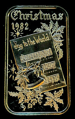 Christmas 1982 1 oz .999 Silver Fine Art Bar • Dahlonega Mint 1982